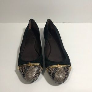 Tory Burch Snakeskin Suede Pacey Ballet Flats